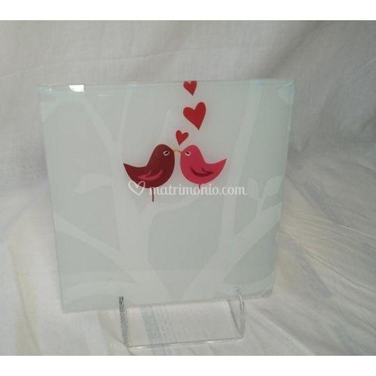 Uccellini - quadro in vetro
