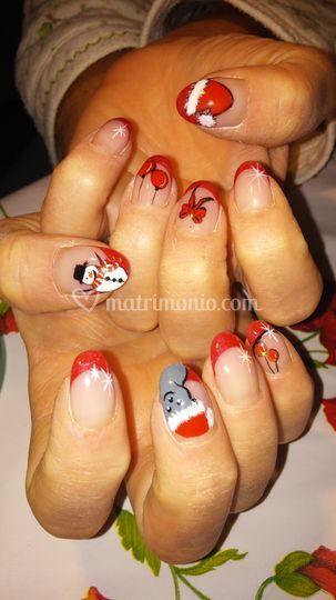 Gel  + nail art natalizio