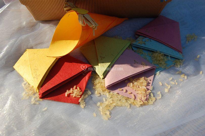 Coni riso con carta origami