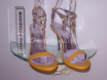 Sandalo in pelle con cavigliera swarovsky