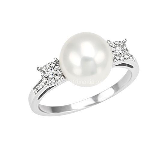 An. oro con perla e diamanti