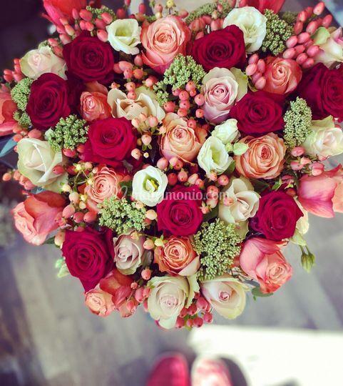 Bouquet cuore rose