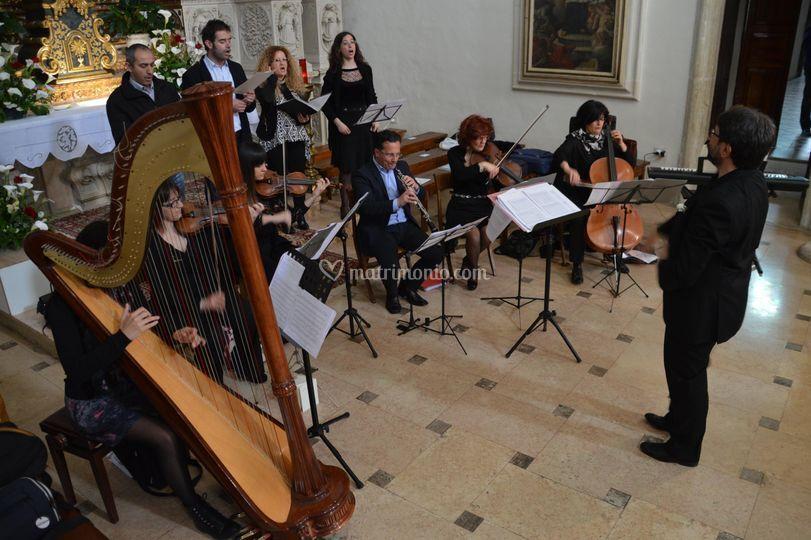 Quartetto d'archi, coro, arpa