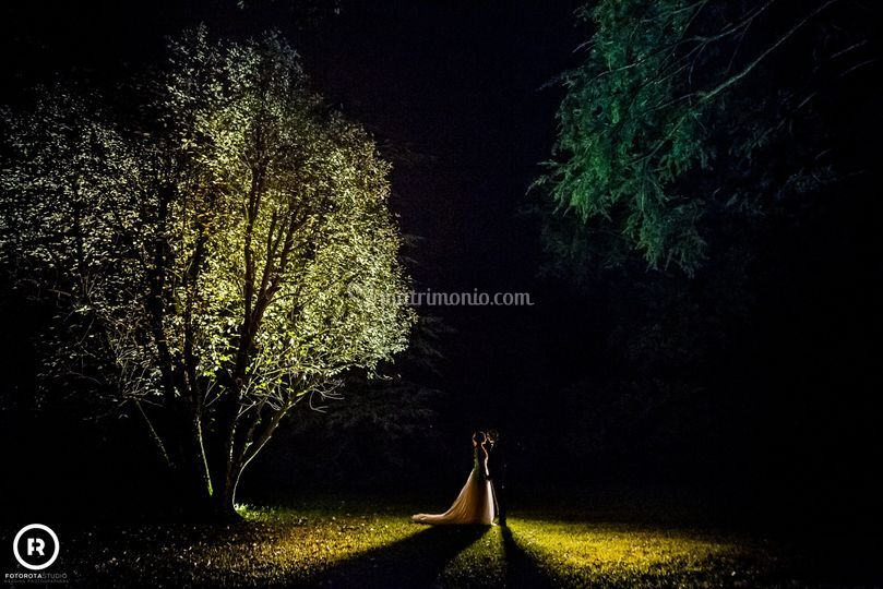 Foto in notturna del giardino
