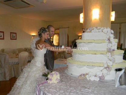 Gli sposi tagliano la torta
