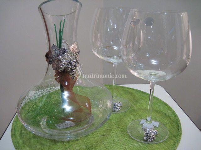 Decanter e coppe vino rosso in argento e cristallo