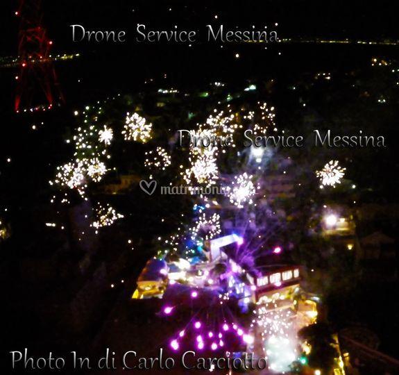 Panoramica locale fuochi drone