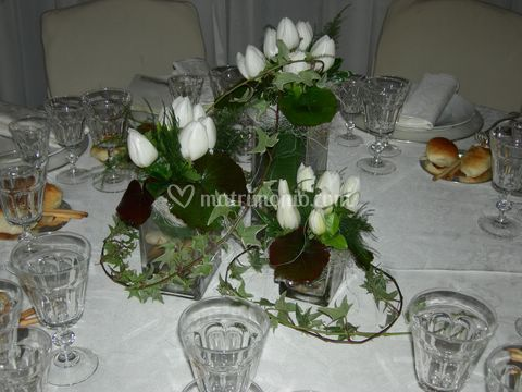 Centro tavolo con 3 vasi