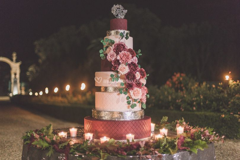 Taglio torta davanti la Villa