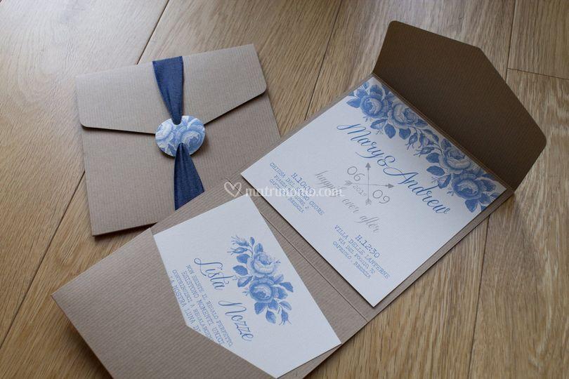 Inviti Blue Vintage Rose