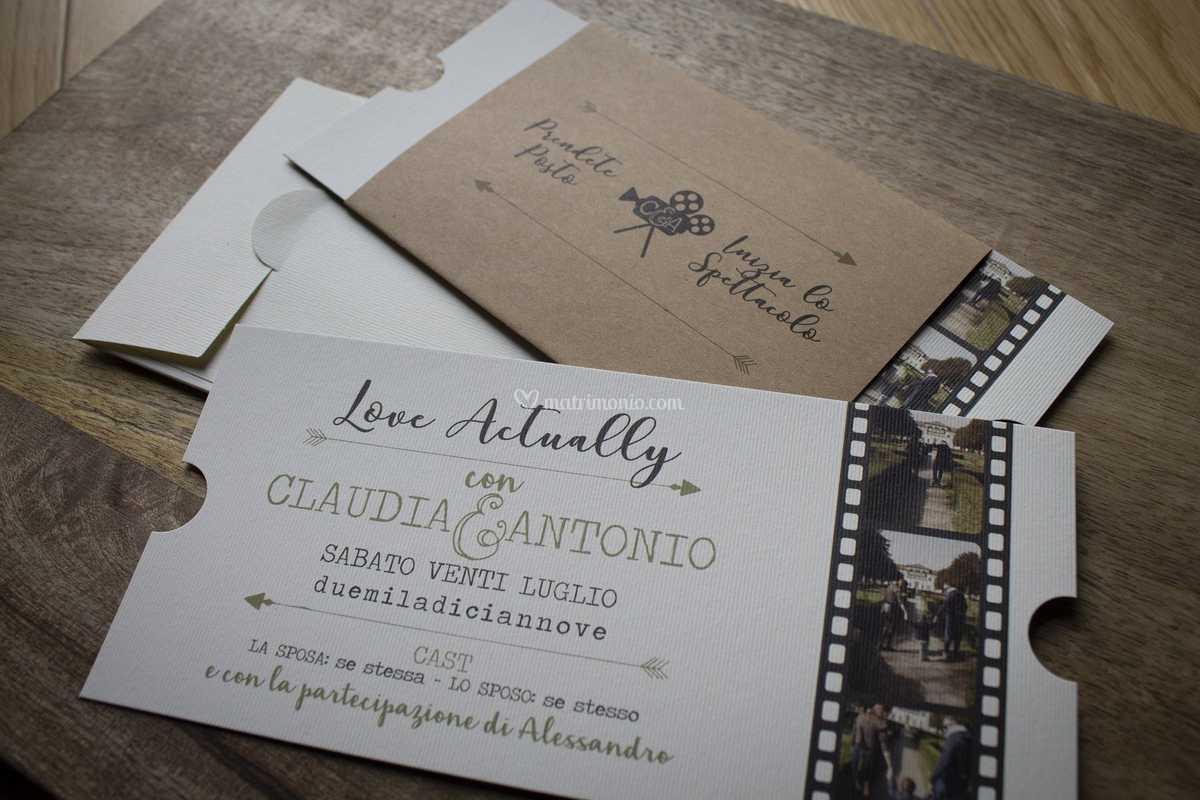 Partecipazioni Matrimonio Tema Cinema.Invito Tema Cinema Di Custom Wedding Foto 110