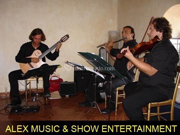 Trio musicale chitarra violino e flauto traverso durante un pranzo di nozze
