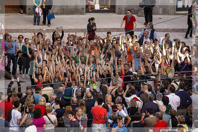 Il coro durante un flashmob