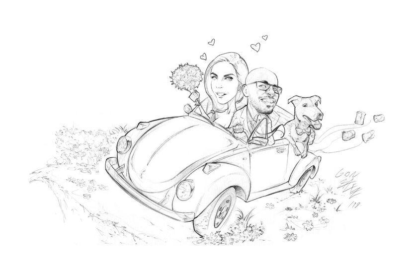 Sposi in Volkswagen Beetle