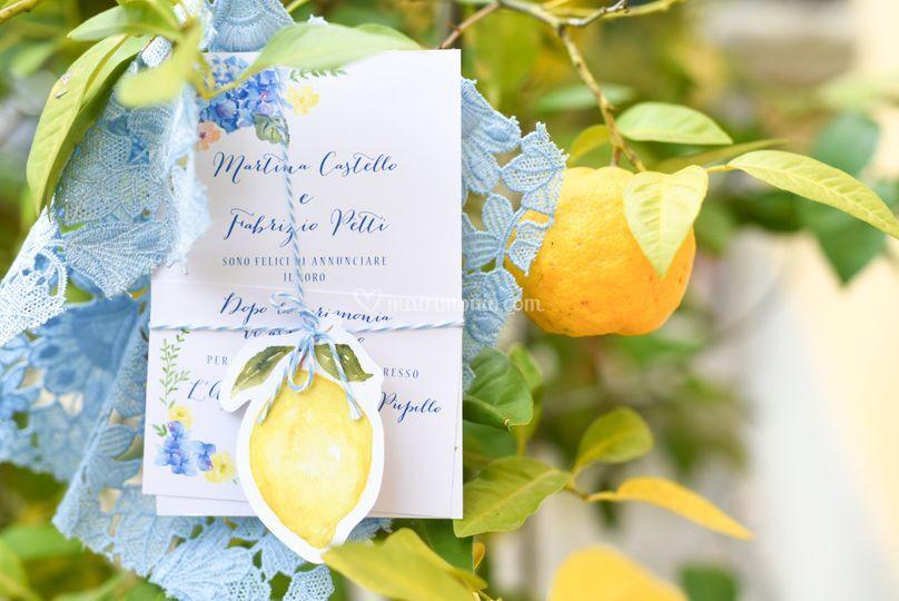 Partecipazione Lemon Light blu