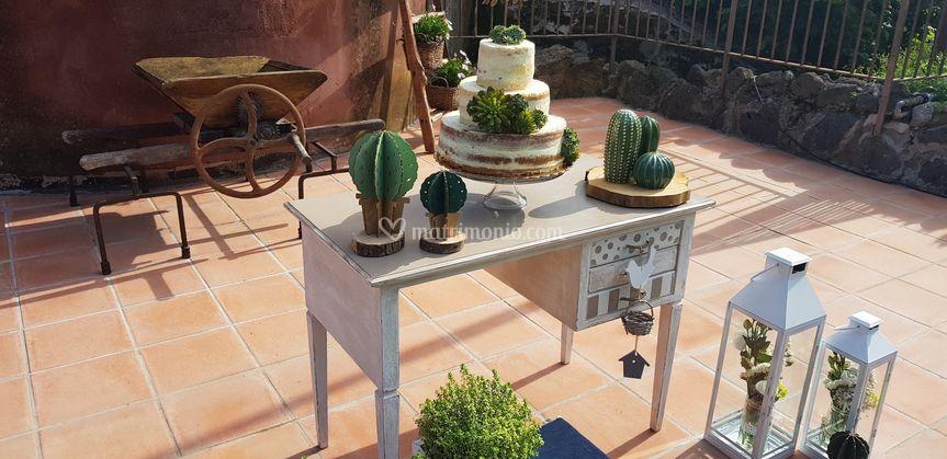 Taglio torta cactus