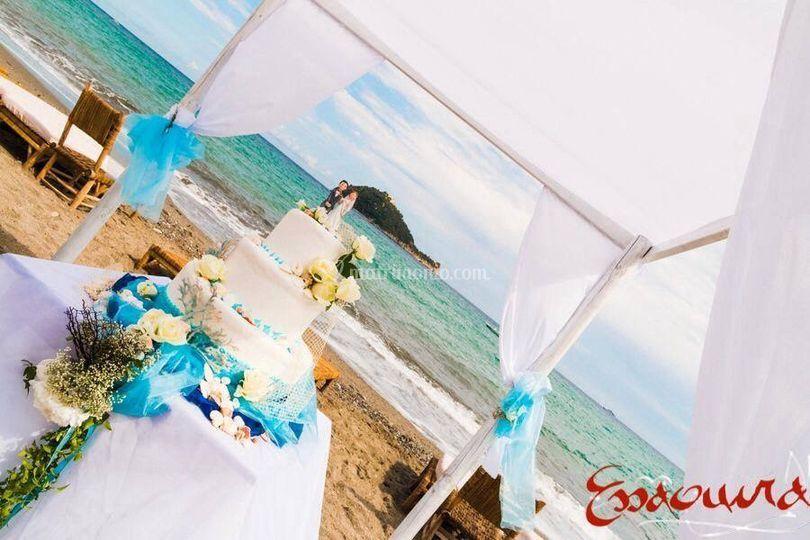 Torta nuziale-spiaggia
