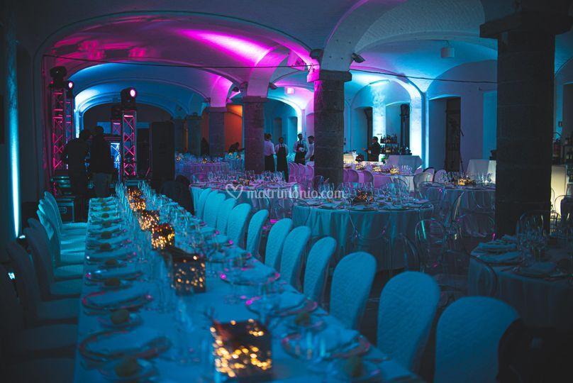 Sala banchetto illuminata