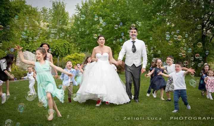 Foto con bolle sposi