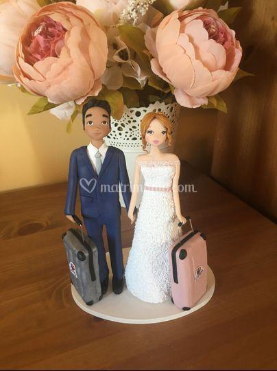 Cake topper sposi tema viaggio