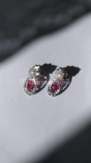 Orecchini rubino diamanti oro