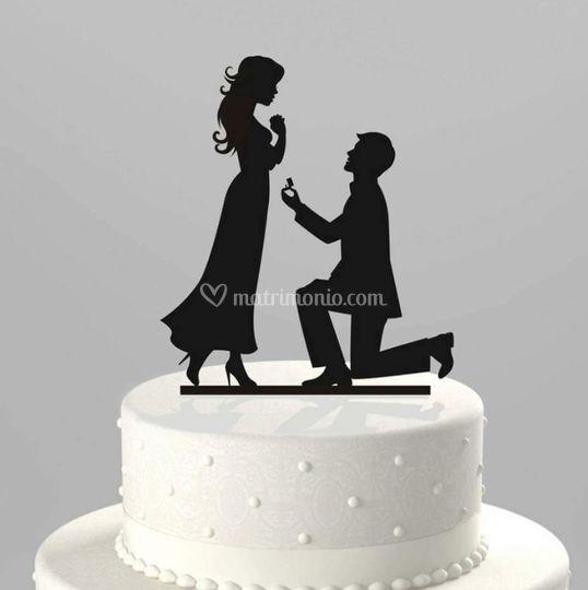 Cake topper sposi in legno