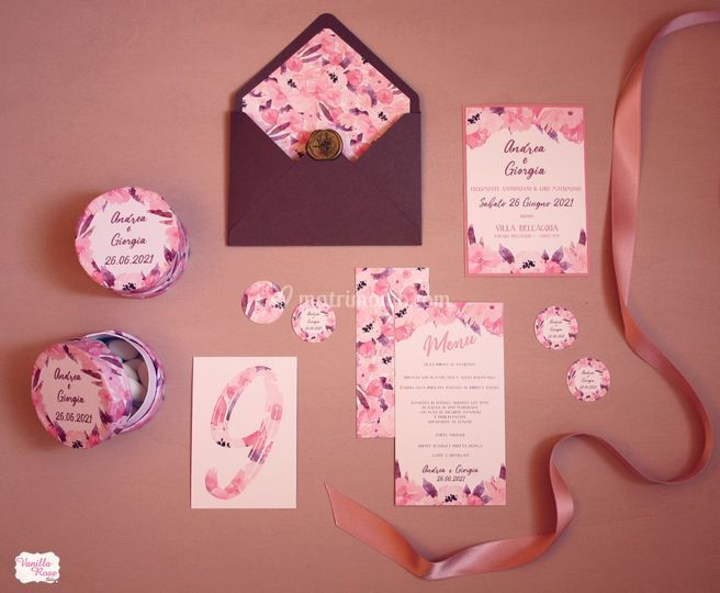 Coordinato Fiori rosa