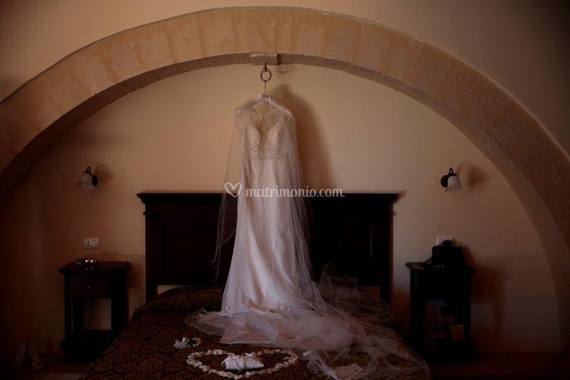 Abito da sposa in camera