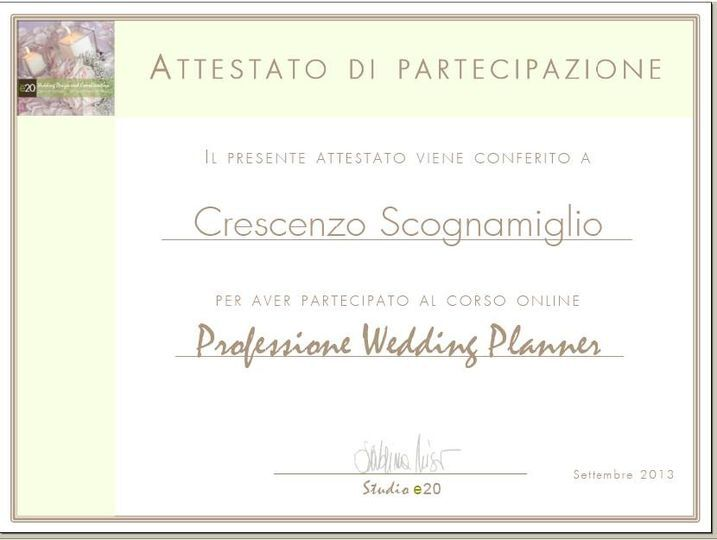 Attestato wedding Planner