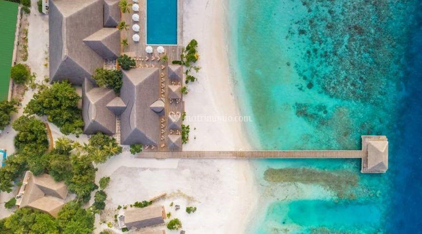 Vista dall'alto atollo di raa