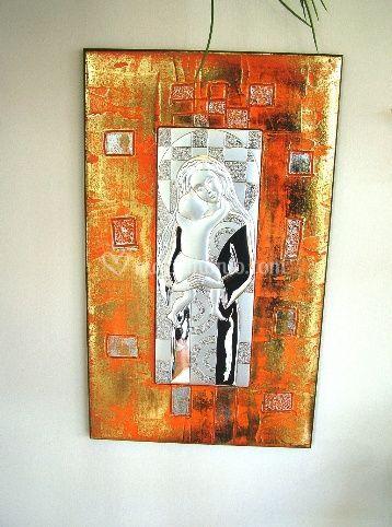 Bomboniera quadro in argento Madonna con bambino