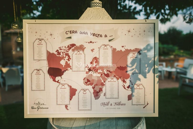 Tableau de mariage tema viaggi