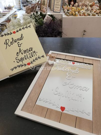 Guest book and welcome mirror