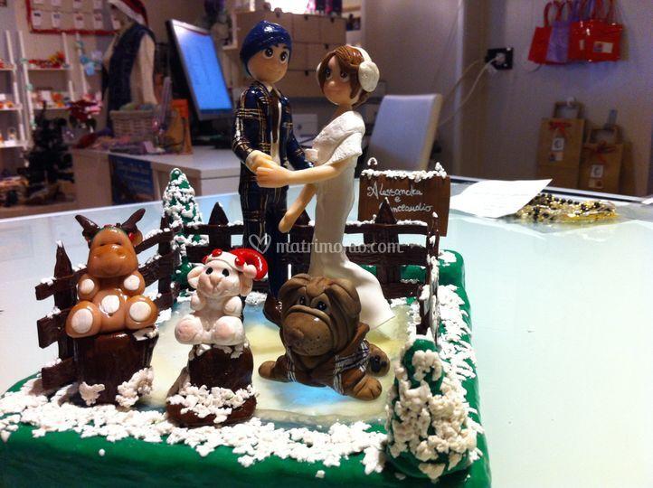 Cake topper pattinaggio neve