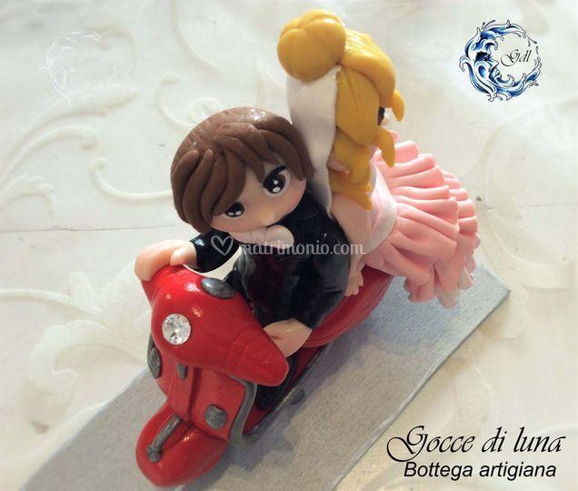 Cake topper Vespa rossa