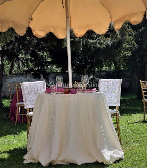 Tavolo sposi stile coloniale