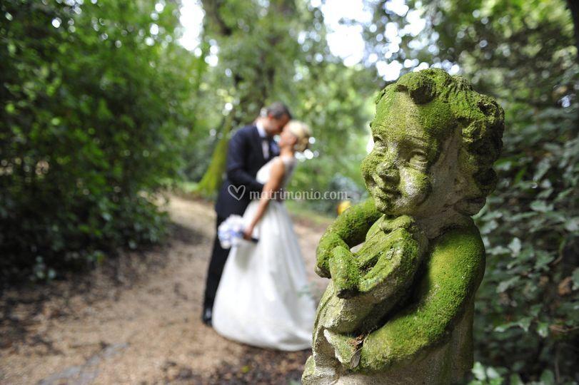 Foto nel bosco romantico
