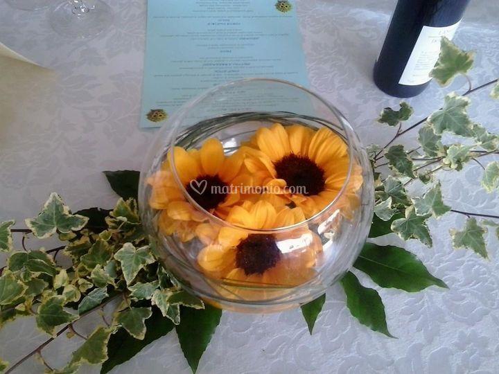 Centrotavola Con Girasoli Matrimonio : Centrotavola galleggiante girasoli di riale floricoltura