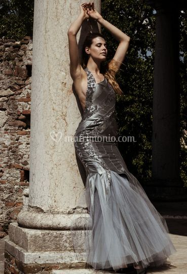 Brocade and tulle dress