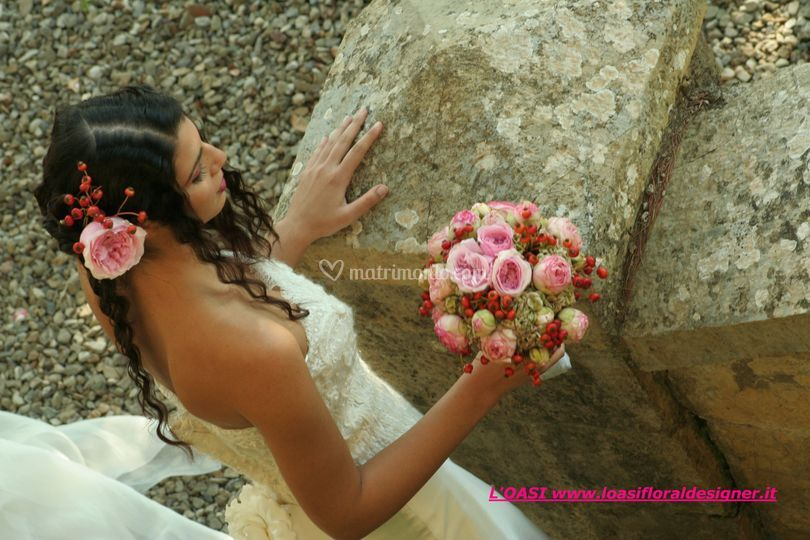 Bouquet  rose doppie rosa