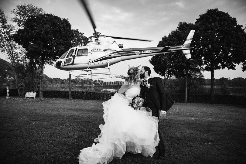Matrimonio elicotero di Belle Foto di Nozze