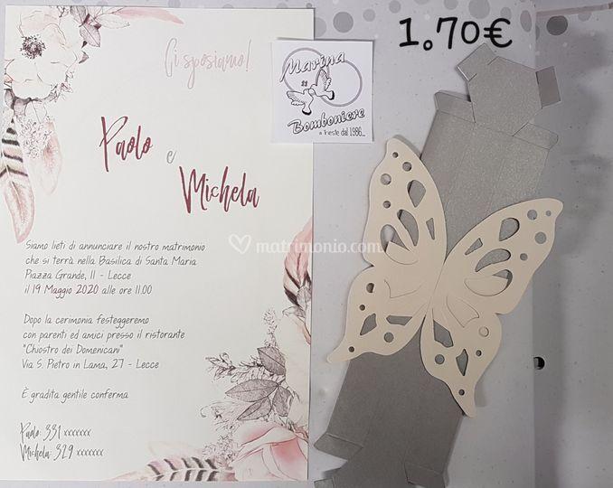 Pinvito nozze scatola farfalla