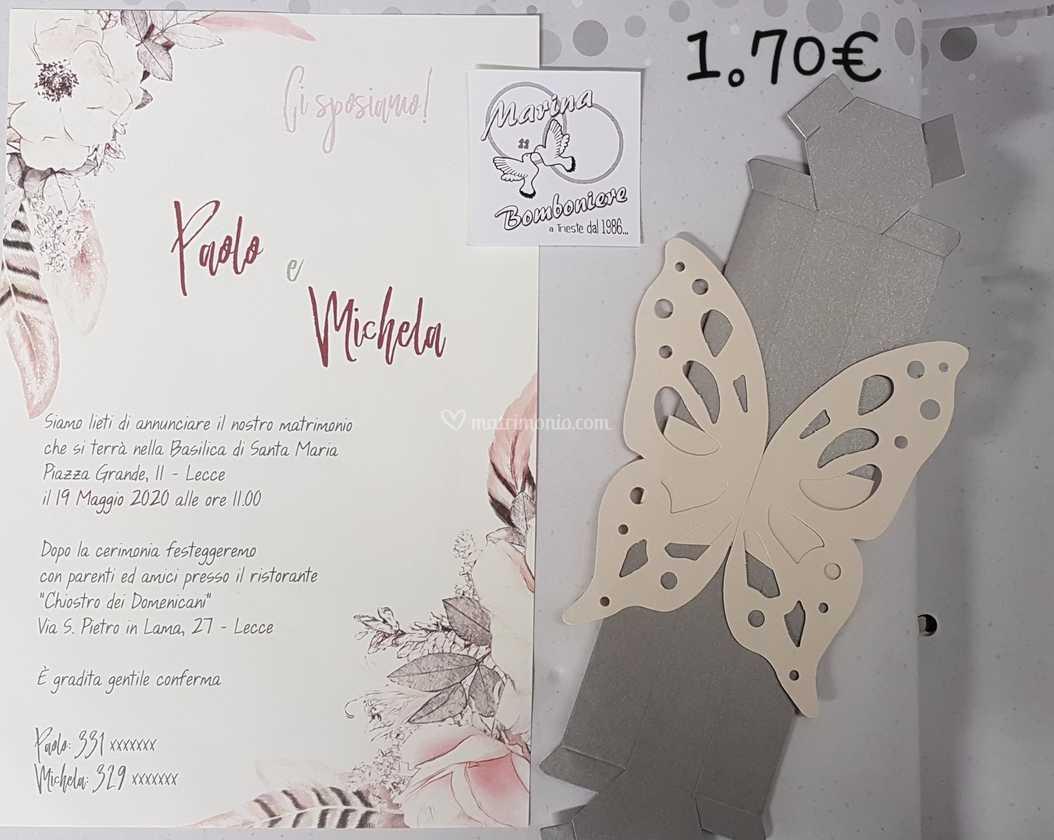 Partecipazioni Matrimonio Lecce.Pinvito Nozze Scatola Farfalla Di Bomboniere Marina