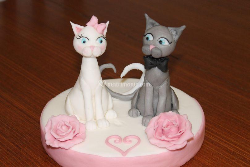 Cake topper gatti innamorati