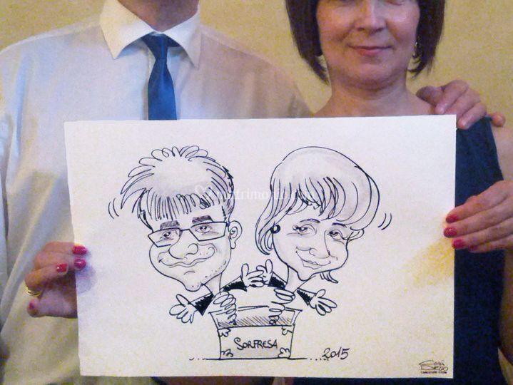 Caricature di coppia
