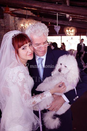 Lucia con il suo papà e milù