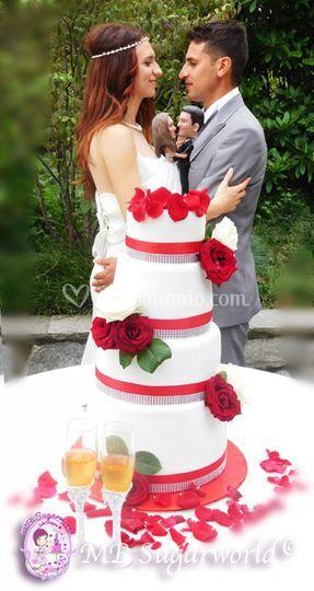 Red pession wedding cake 2