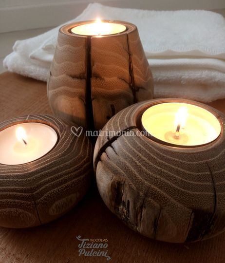 Porta candele in acacia