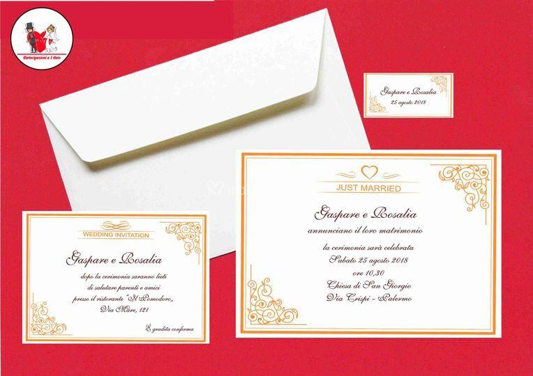 Partecipazioni Matrimonio Economiche 1 Euro.Partecipazioni A 1 Euro