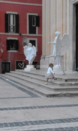 Coppia Statue Viventi Angeli